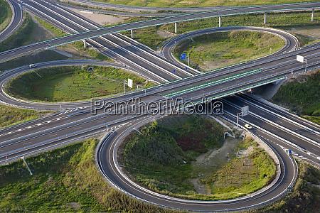 aerial view of road highway junction