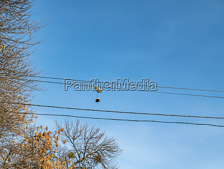 sports sneakers hang on wires with