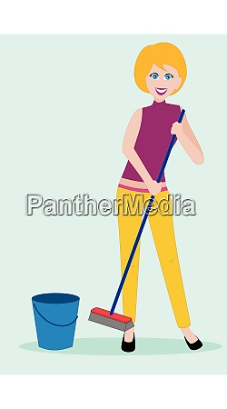 young woman in casual clothing cleaning