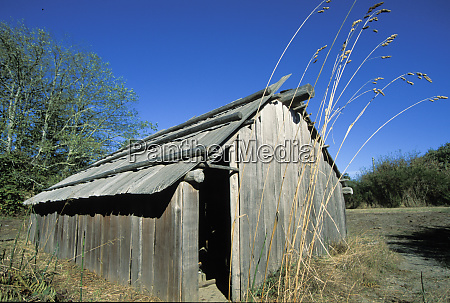 traditional cedar plank longhouse used by