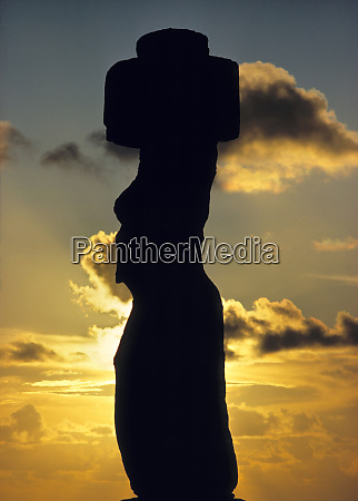 south america chile easter island silhouetted