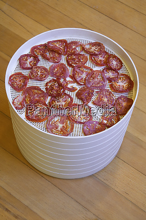 stacked trays of tomato slices being