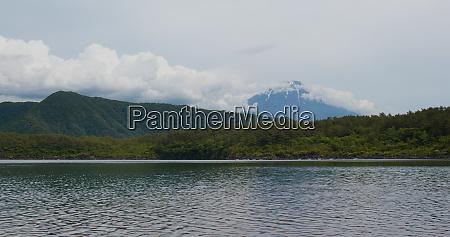 saiko lake with mountain fuji