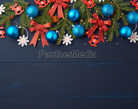 green spruce branches christmas blue and