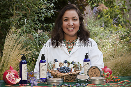 native american woman dressed in lab