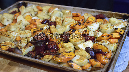 roasted root vegetables in tray large