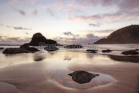 beach and sea stacks at sunset