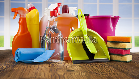 set of cleaning products equipment background