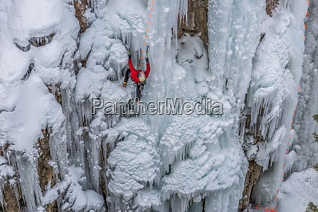 ice climber ascending at ouray ice