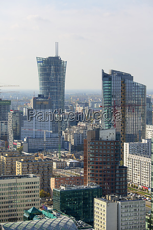 aerial view of the modern buildings