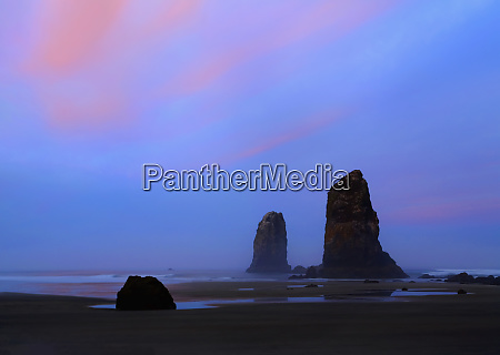 usa oregon cannon beach at low