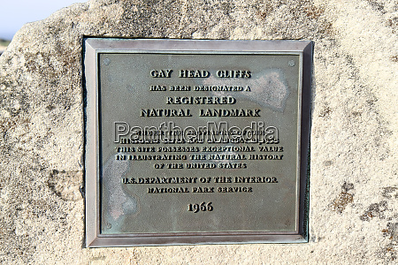 plaque noting that gay head cliffs