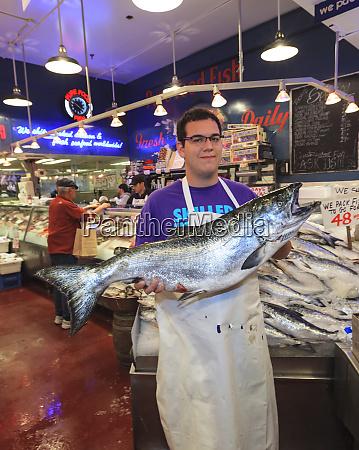 vendor at pure food fish market