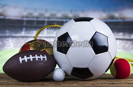 group of sports equipment winner background