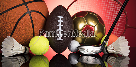 sports balls with equipment winner background