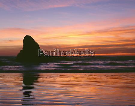 usa oregon ecola state park sunset