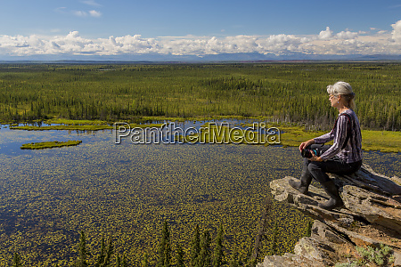 usa alaska moose pond woman hiker
