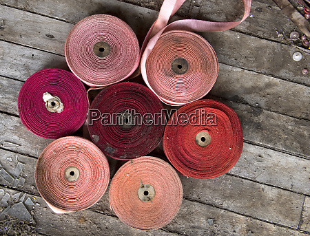 spools of ribbons have been arranged