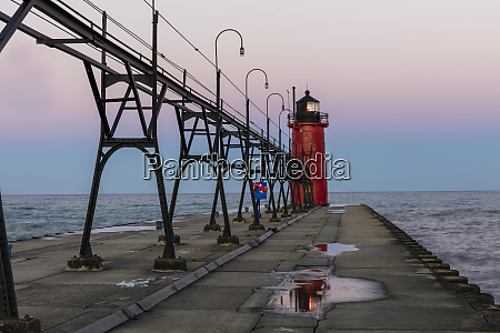 lighthouse at dawn in south haven