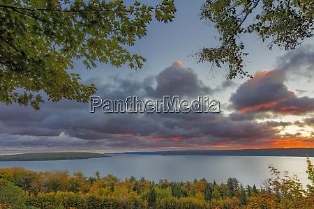 sunrise over munising bay and grand