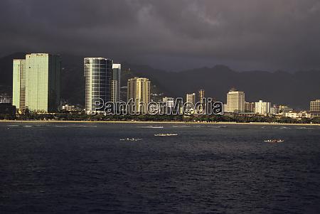 luxury hotels lining famed waikiki beach