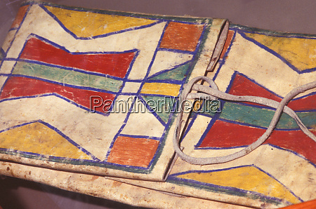 colorful blackfeet painted designs decorate a