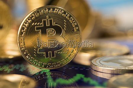 virtual cryptocurrency concept bitcoin gold coin
