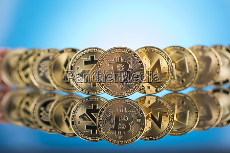 cryptocurrency concept litecoin etherium bitcoin virtual