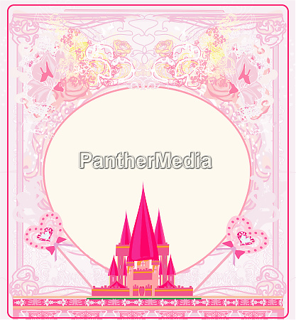 girlish frame with pink fairytale castle
