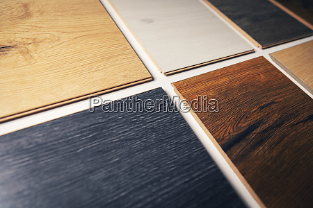 closeup of colorful laminate flooring samples