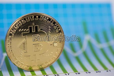 golden bitcoin coin virtual money financial