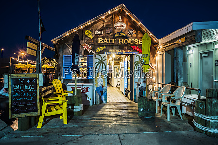 the bait house at blue hour