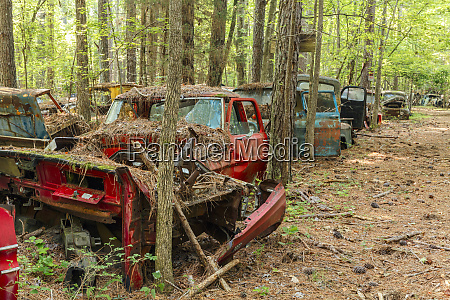 abandoned and decaying antique automobiles in