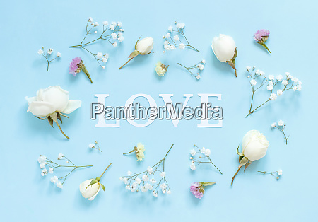 flowers and word love on a