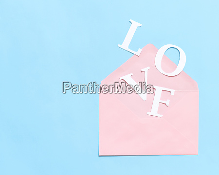 word love and pink envelope on