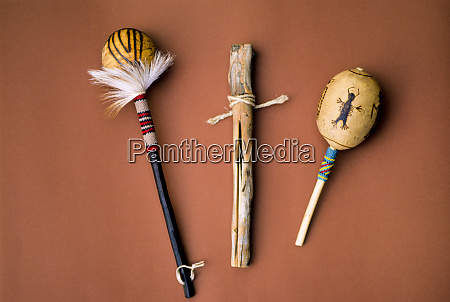 traditional pomo rattles and clapper stick