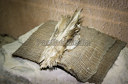 ute ceremonial bundle of feathers lays