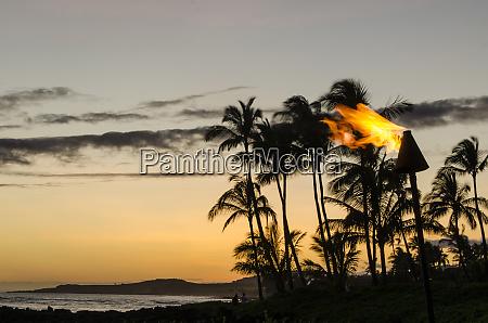 tiki torches at sunset on poipu