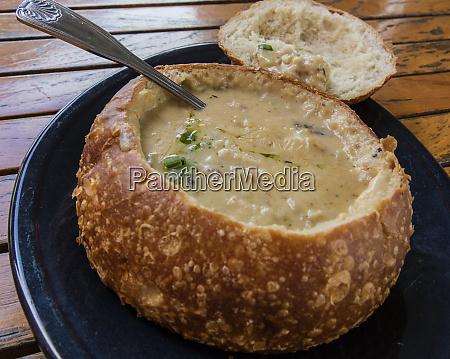 crab chowder in sourdough bread bowl