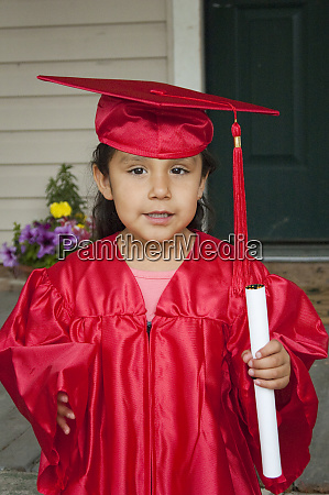 kindergarten age native american child dressed