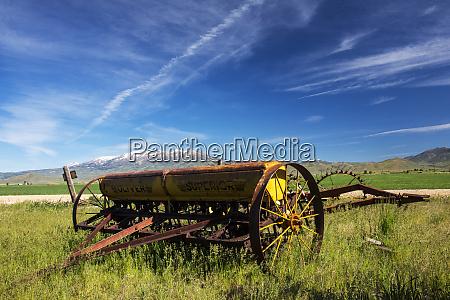usa idaho fairfield horse drawn hay