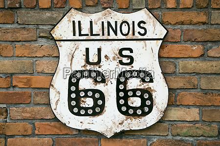 dirty illinois route 66 sign atlanta