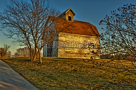 usa indiana rural scene of red