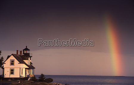 prospect harbor maine with rainbow