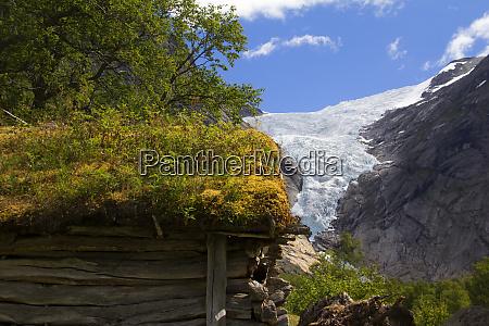 norway briksdal glacier and sod roof