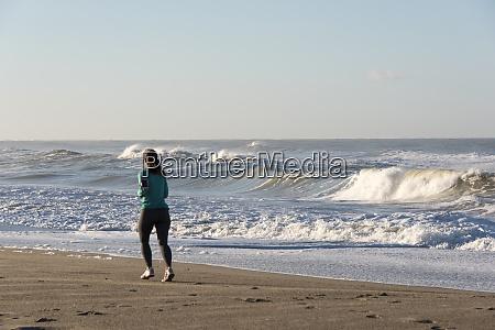 usa california oxnard jogger on beach