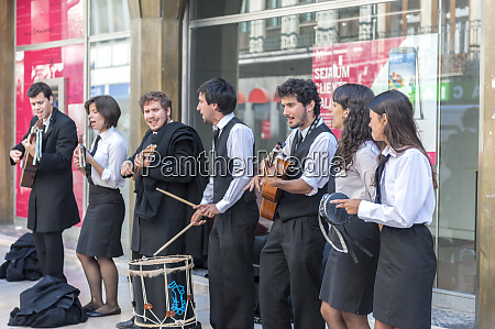 europe portugal coimbra student street musicians