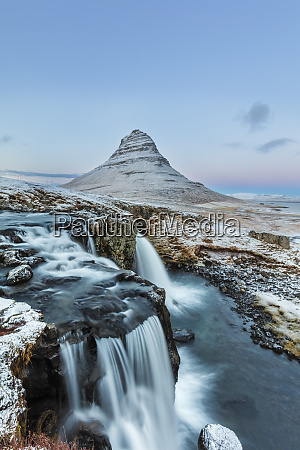 wintry waterfall below kirkjufell aka church