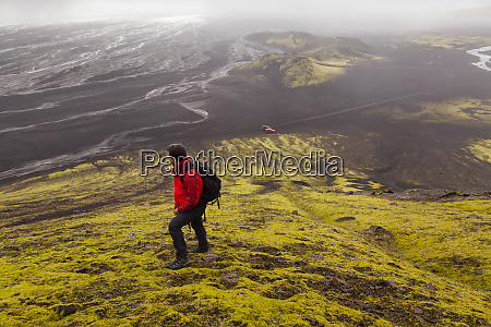 moss volcano maelifell in iceland highlands