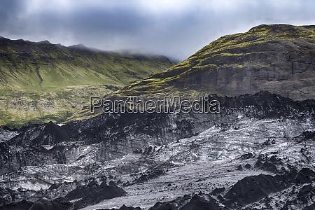iceland extreme landscape of the solheimajokull